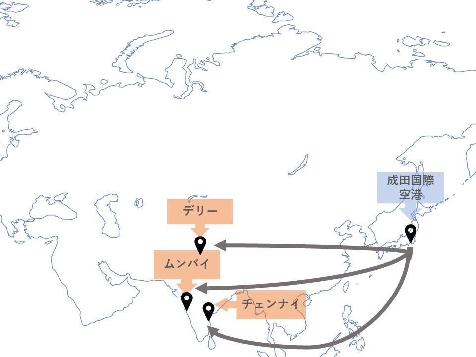日本発、インド行きの直行便