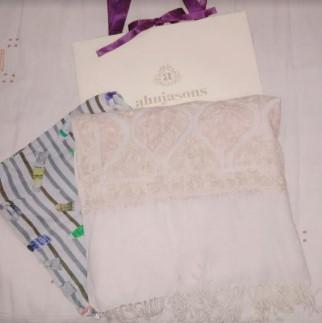 オージャソンのコットンスカーフとアリ刺繍入りのショール